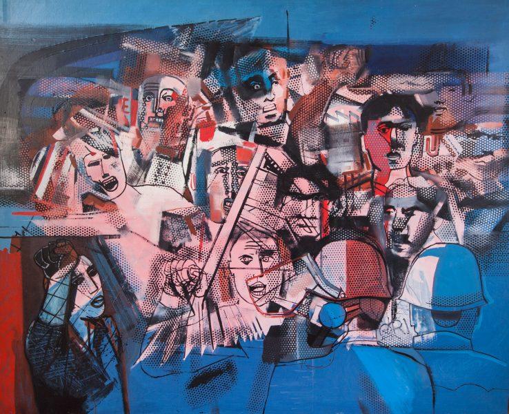 Dimostranti, 1974, olio su tela 120 x 150