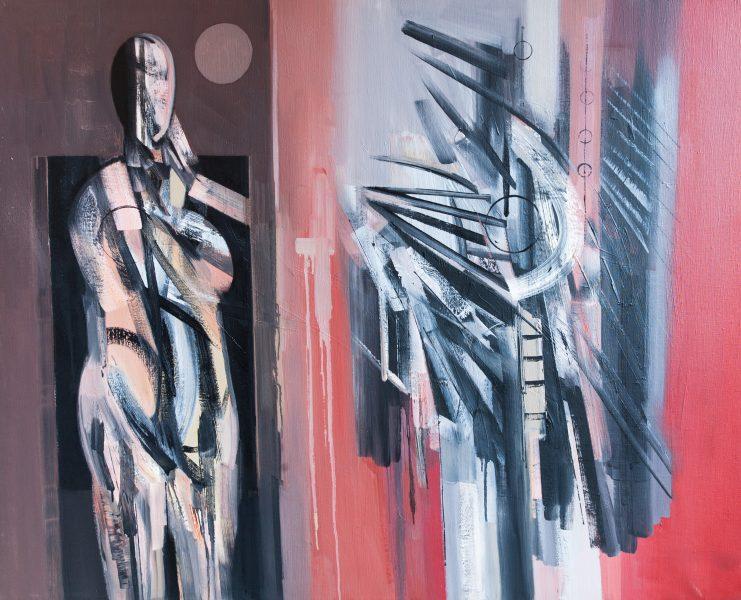 Due figure 1990 olio su tela 50 x 60