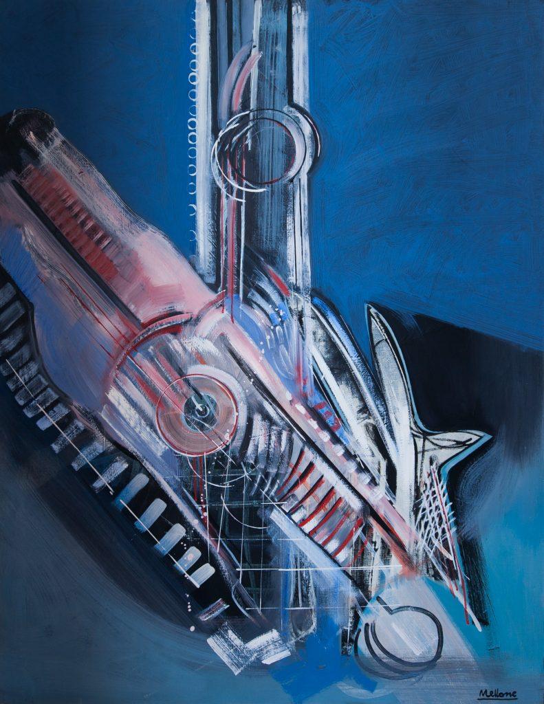 figure nello spazio, 1966, olio su tela 90x70